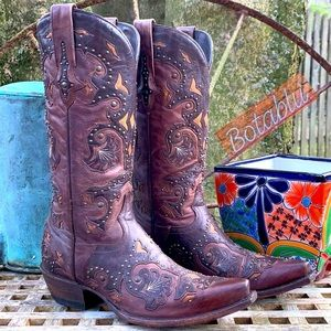 LUCCHESE Studded Scarlet Western Cowboy Boots 8.5